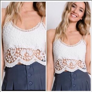Tops - WHITE LACE CROP TOP camisole - cami